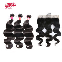 Ali Queen Hair Products Brazilian Body Wave Virgin Human Hair 3 Bundles With 1Pcs 13*4 Lace Frontal Closure With Baby Hair