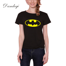 New Women T shirt Batman Print Funny Casual Tops Basic Bottoming Short Sleeve Lo