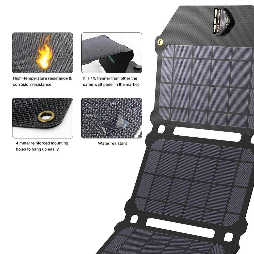 Allforce 21 واط لوحة طاقة شمسية الخلايا الشمسية المزدوجة USB شاحن بالطاقة الشمسية بطاريات الهاتف شحن لسوني آيفون 4 5 6 6s 7 8 X زائد باد