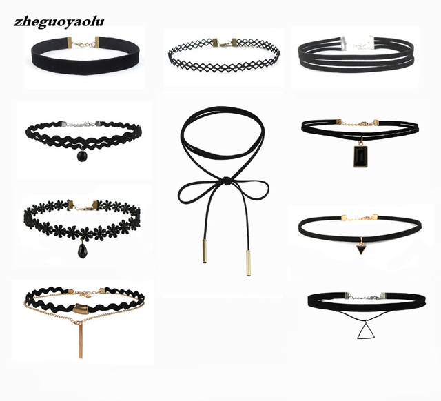 Best Offer New Fashion 10 Pieces Women Black Rope Choker Necklace Set Velvet Str