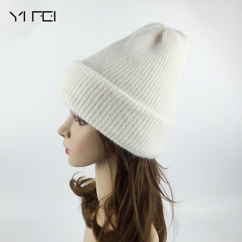 YIFEI Fashion Hat New Arrival Casual Cap Good Quality Female Hat  Rabbit Hair Women Hat For Autumn Winter Knitted Wool Beanies skullies female rabbit ear hat hat women s hair cap fashion cap winter cap fpc012