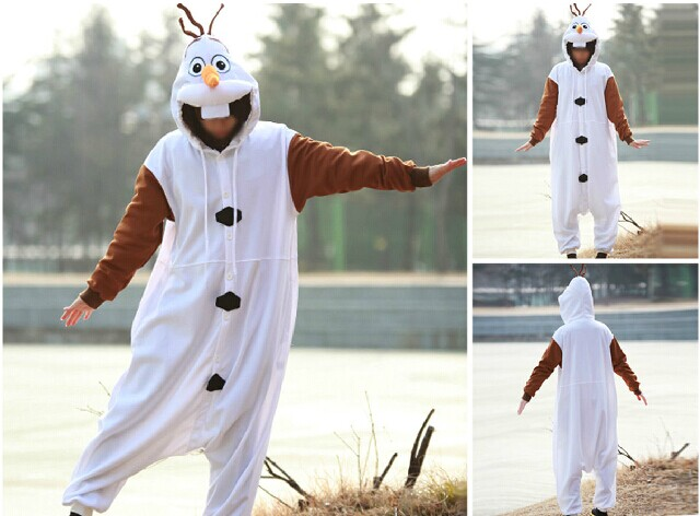 Free shipping Anime Pajamas Adult Onesie Cosplay Olaf Snowman Costume Fantasia Costumes Animal Fancy Party