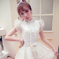 Princess Sweet Lolita Shirt BoBON21 Exclusive Design Pearl Cuff Letter Embroidery Collar Chiffon Shirt T1233
