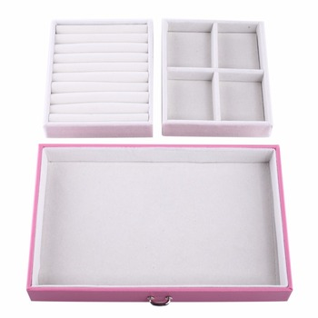 ROWLING Pink Large Velvet Jewelry Storage Box PU Jewellery Rings Boxes Mirror Bracelet Earrings 2