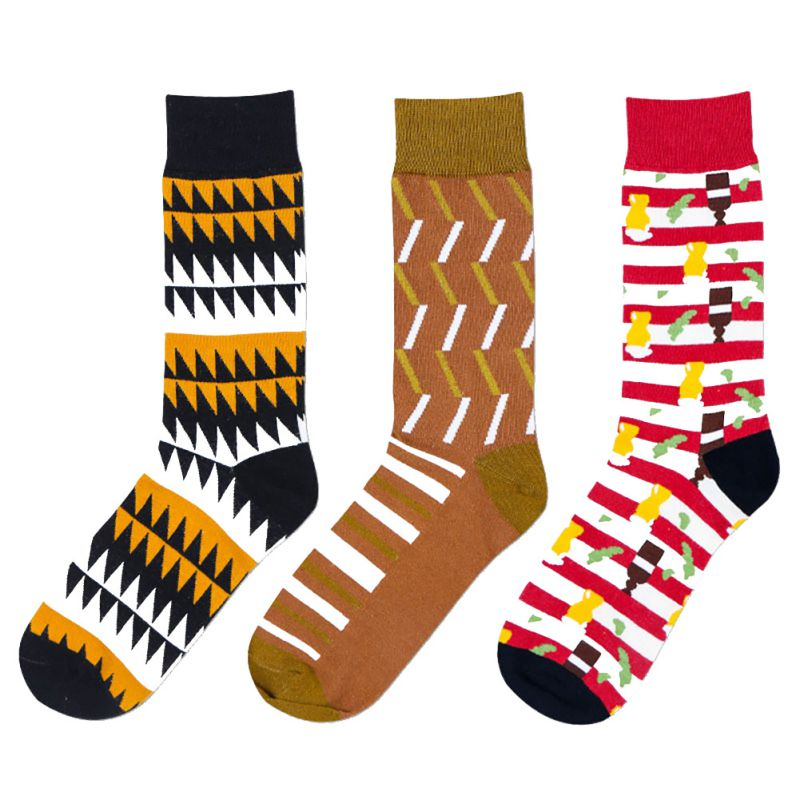 Print Patchwork Striped Chic Men Socks 13 Colors Optional Man Knee-High Warm Stitching Pattern Antiskid Casual Cotton Crew Sock