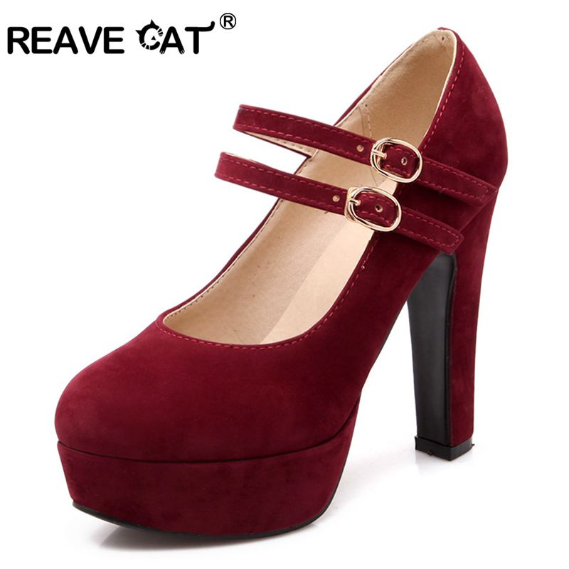 REAVE CAT Women High Heels Pumps Platform Round toe Thick heels Suede Mary janes bridal shoes