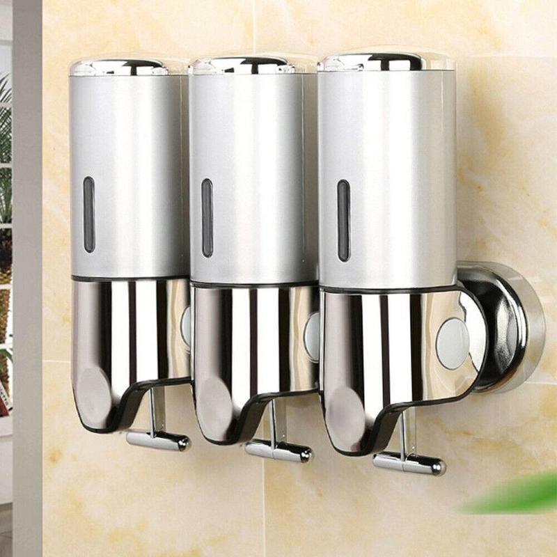 Rvs Zeepdispenser Badkamer Accessoires Plastic Wasmiddel Shampoo Muur Gemonteerde Zeepdispenser Dispensers Matige Prijs