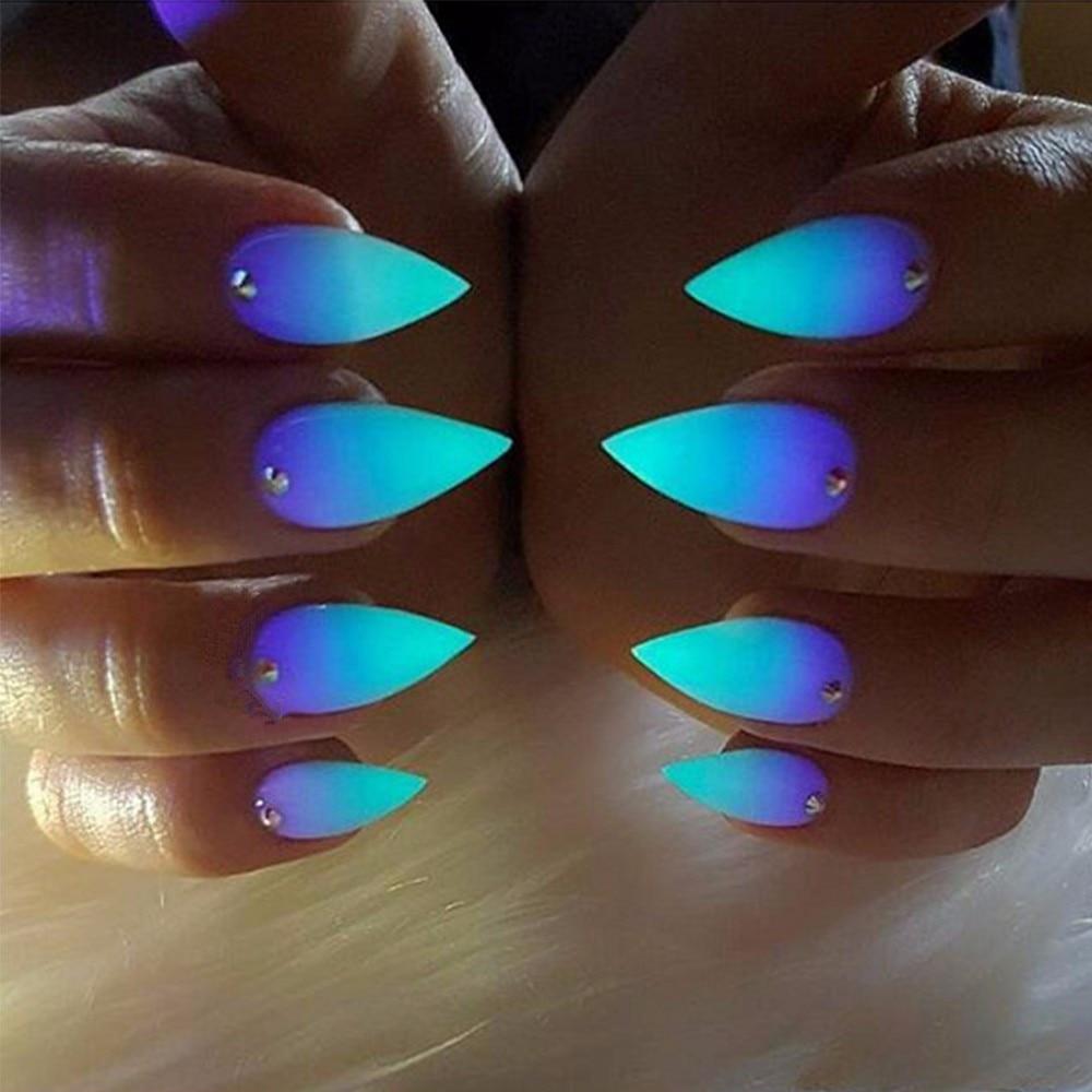 6 Colors Luminous Nail Polish Powder Glow in the Dark Photochromic ...