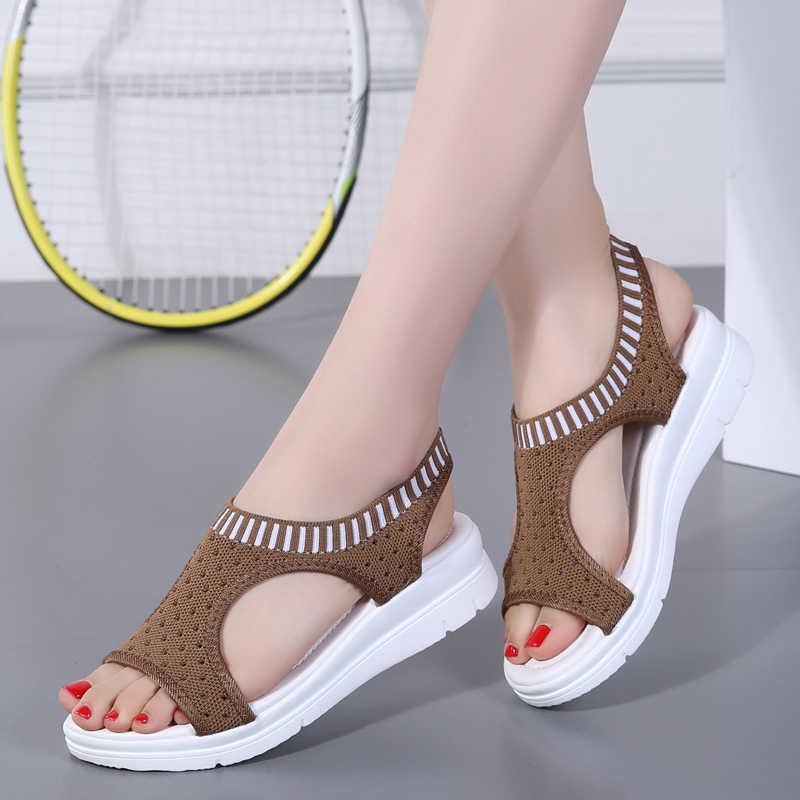 6719ed247e ... 2019 Popular Ladies Sandals Mesh Women Summer Sport Shoes Outdoor  Walking Shoes Flat Platform Sandal Stretch ...