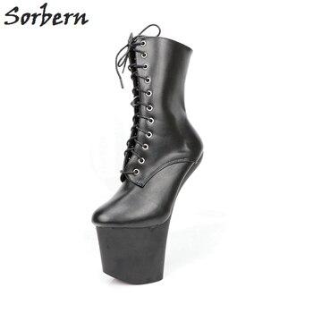 Sorbern Sexy sin tacón 20 cm Matt Extrem botas de tacón alto dama Gaga botas  zapatos cortos mujeres Unisex botas vampiro BDSM botas más tamaño 6643f8a7f72ad