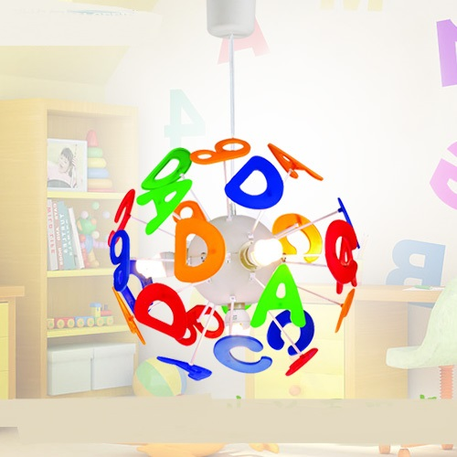 Dessin animé créatif lustre enfants chambre chambre dessin animé créatif ABCD numérique garçon fille chambre coloré LU721184