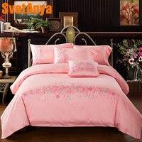 Svetanya Pink flowers Embroidered Bedlinen Queen King 100% Egyptian Cotton Duvet Cover Bedsheet Pillowcase 4pc Bedding Set