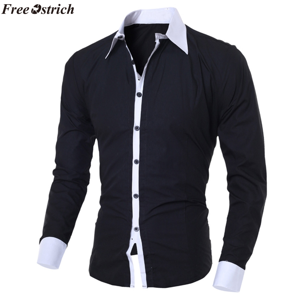 FREE OSTRICH Men's Shirts Fashion Personality Mens Casual Slim Long-sleeved Shirt Top Blouse Black White Men Shirt Style 2019