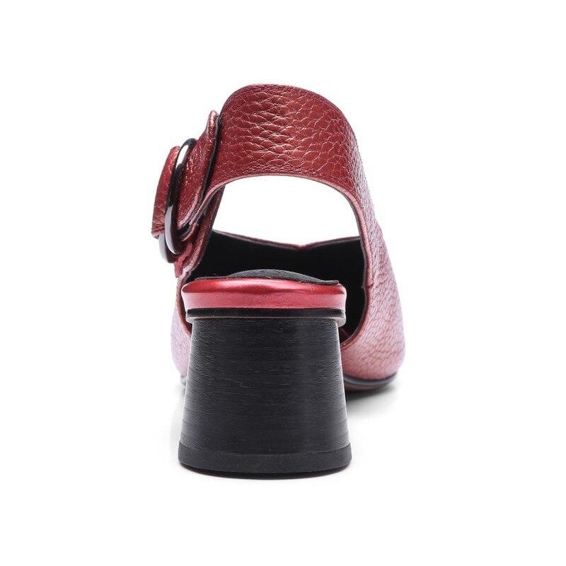 Profonde Chaussures Talons argent Grande Peu Femmes Soirée Taille Cuir Vert Élégant Hauts Véritable Slingbacks Maziao 34 vin Pompes Rouge De Nouveau Boucle 43 RgwvqWYAz