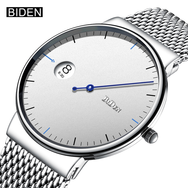 BIDEN Simple Style Men Watch Stainless Steel Mesh Strap Quartz Watches Fashion Lovers Wrist Watch white stripes fashion style mesh men s underwear