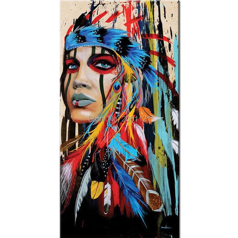 Ручная роспись индийская девушка женщина картины маслом красочные американских индейцев перья холст стены искусства для гостиной Декор Ар...