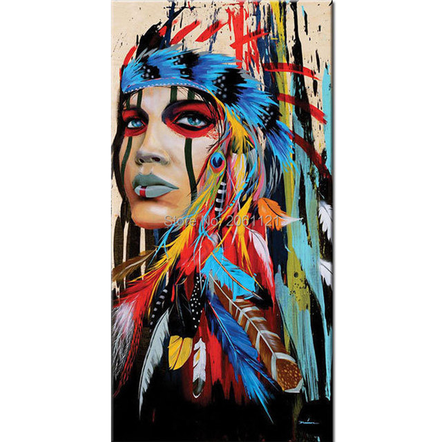 Hand painted indian girl woman oil paintings colorful american ...