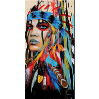 Hand Painted Indian Girl Woman Oil Paintings Colorful American Indian Feathers Canvas Wall Art For Living