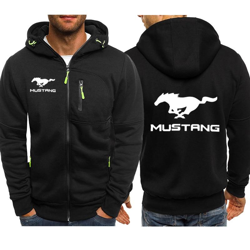 Hoodies Men Mustang Car Logo Print Casual Hip Hop Harajuku Long Sleeve Hooded Sweatshirts Mens Zipper Jacket Man Hoody Clothing
