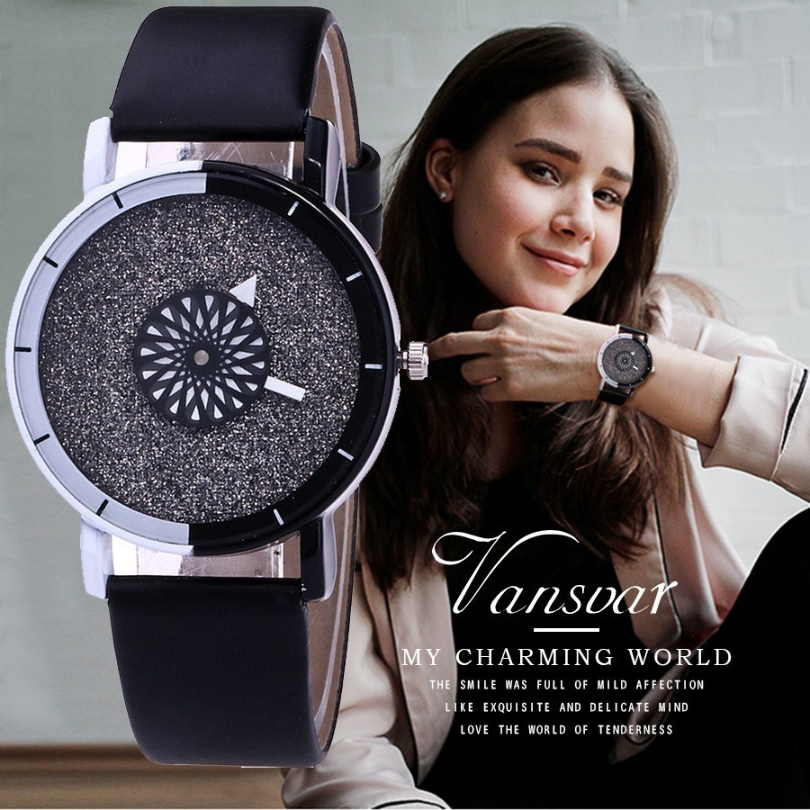 Vansvar Brand Unique Dial Design Watch Leather Wristwatches Fashion Creative Watch Women Men Quartz Watch Relogio Feminino Hot vansvar fashion good things are going to happen watch casual women quotes wrist watch leather quarzt watch relogio feminino v29