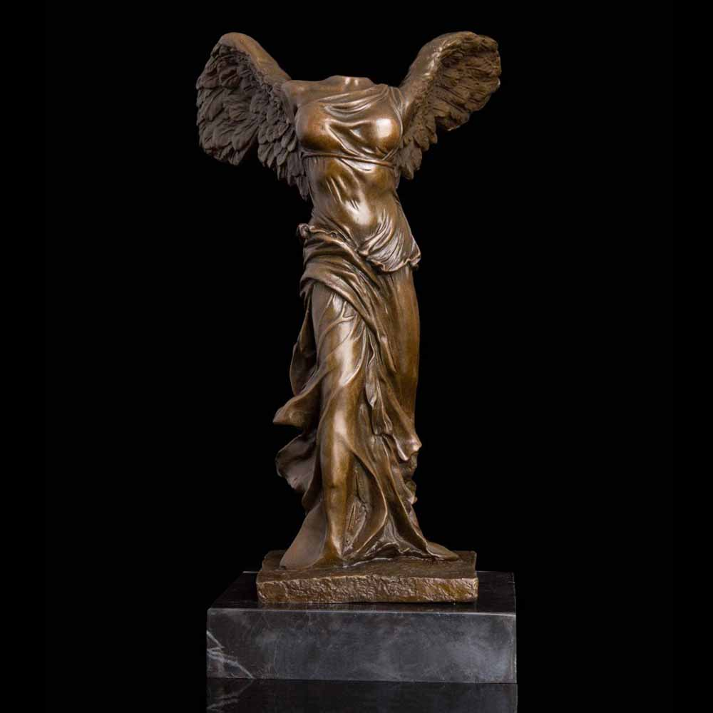 ATLIE Bronze Winged Victory Lady Goddess Athena Statues