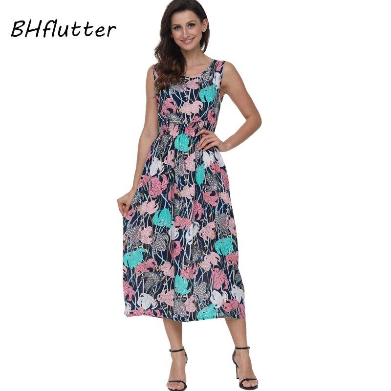 Женское платье с высокой талией BHflutter, повседневное длинное платье без рукавов с цветочным принтом, 2018