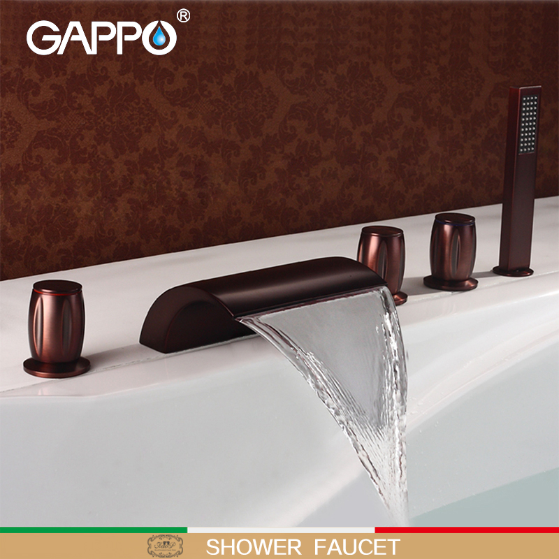 GAPPO bathtub faucet ORB waterfall bath faucet Brass vintage sink tap water bathroom tap bathroom shower set baignoire baolinlong classic styling brass bathroom shower faucet bathtub faucet tap bath shower set waterfall bathtub sink faucet water
