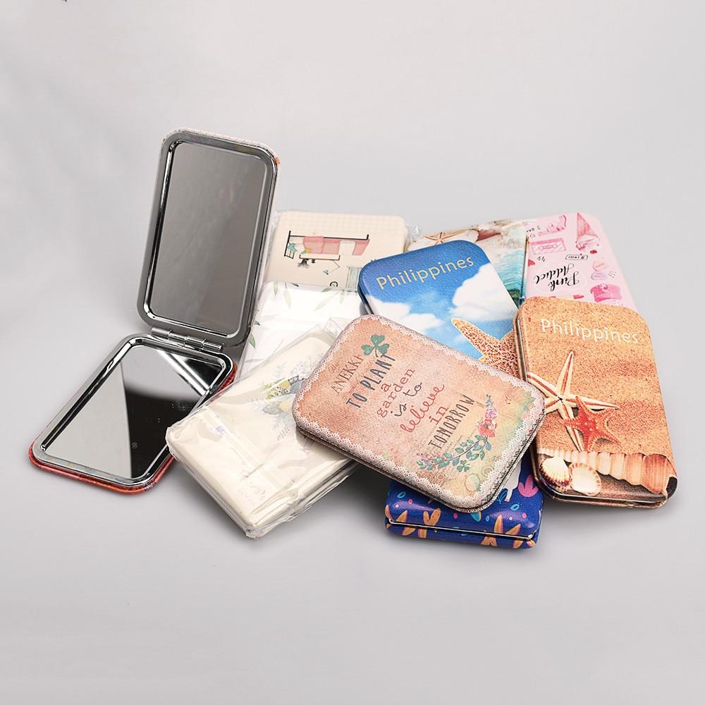 Schminkspiegel Haut Pflege Werkzeuge Huamianli Schnee Print Quadratischen Spiegel Folding Pu Tragbare Doppelseitige Kleinen Spiegel Mädchen Mini Make-up Spiegel Billigverkauf 50%