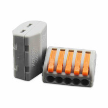 (25 pcs/lot) WAGO 2PCT215 Universal Compact Wire Wiring Connector 5 pin Conductor Terminal Block With Lever 0.08-2.5mm2
