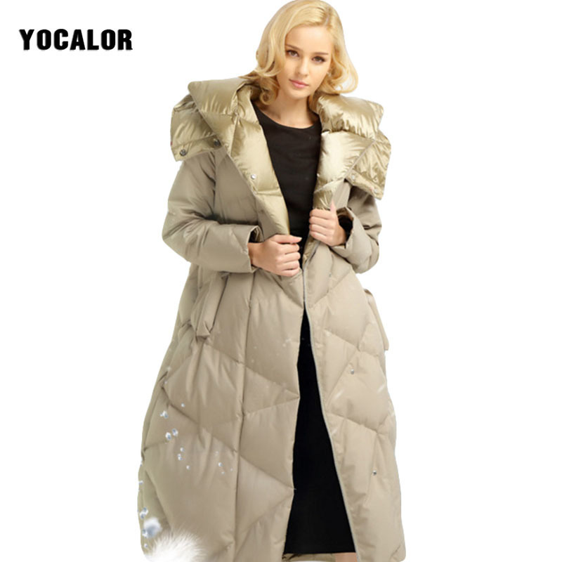YOCALOR Winter Down Jacket For Women Womens Down Jacket Female Long Thick Female Winter Down Jacket Outerwear 90 % White Duck