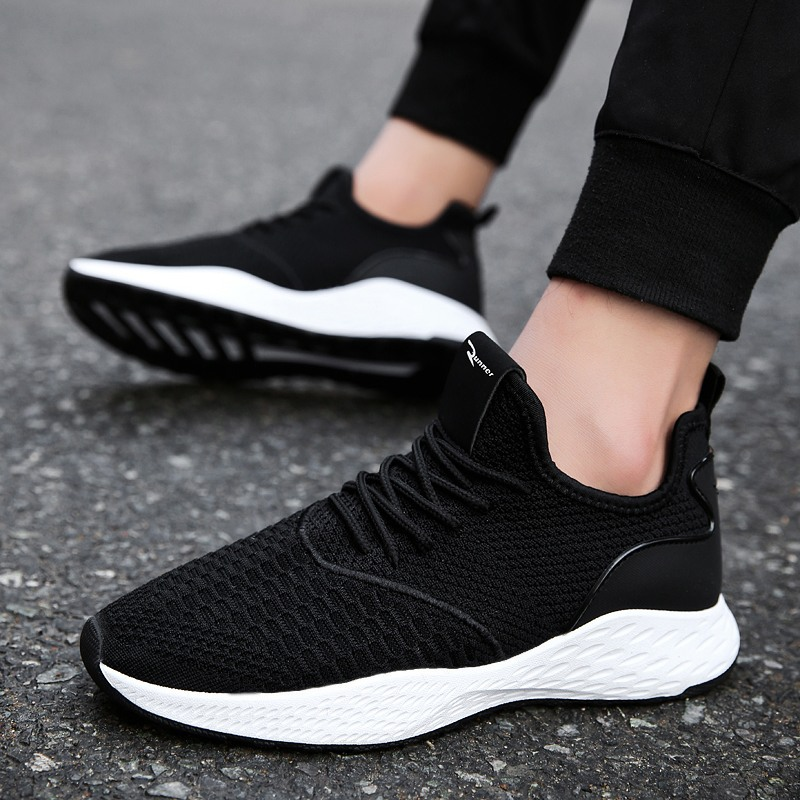 2018 Summer New Breathable Men Sneakers Male Shoes Adult Black Gray High Quality Comfortable Non-slip Soft Mesh Men Shoes