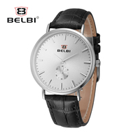 2017 New Brand BELBI Fashion Men Watch Leather High Quality Ultra Thin Casual Quartz Watches Couple
