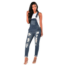 Women Loose Denim Jeans Pants Hole Overalls Straps Jumpsuit Rompers Trousers