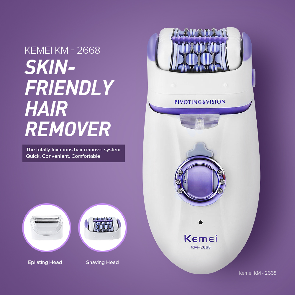 Kemei KM2668 2 in 1 Women Hair Remover Electric Hair Trimmer For Armpit Bikini Leg Lady Removal Epilator Female Body Care Shaver kemei rechargeable electric callus remover lady shaver epilator hair removal for women bikini leg underarm armpit