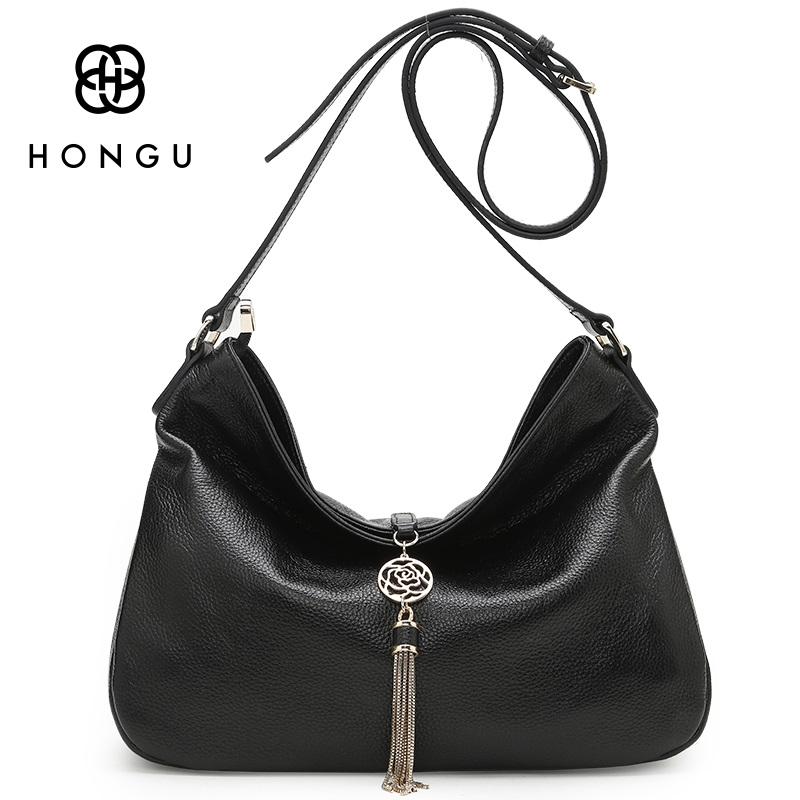 HONGU First Layer Genuine Leather Tassel Retro Hobos Shoulder Bags Soft Cowhide Women Handbags Messenger Purse Satchel Black zency genuine leather small women shoulder tassel bags tote handbags first layer cow leather ladies messenger bag satchel