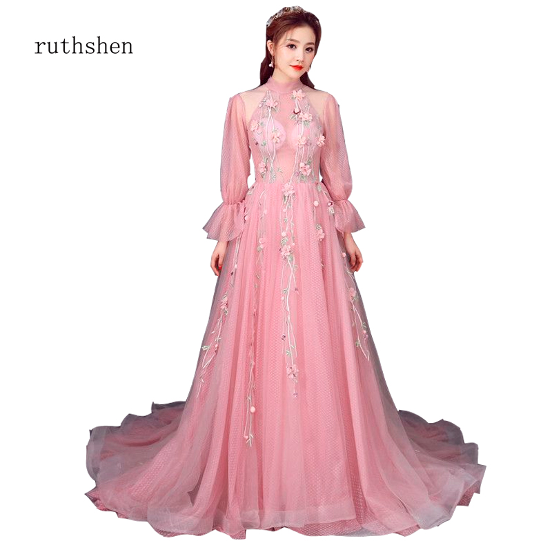 ruthshen Fashion Sweet Pink Halter Illusion Bubble Full Sleeve Flower Floor-Length   Prom     Dresses   with Train for Events