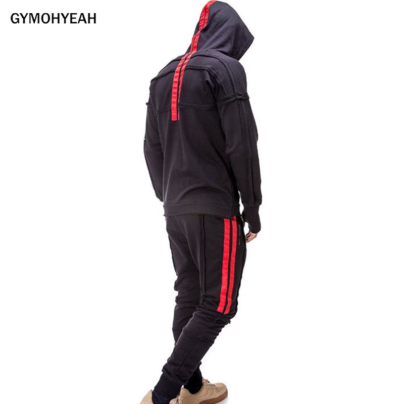 GYMOHYEAH New Sporting Suit Men Hoodies Sets Mens Gyms Sportswear Jogger Male Tracksuit Suit Hip Hop Hoodie+Sweatpants