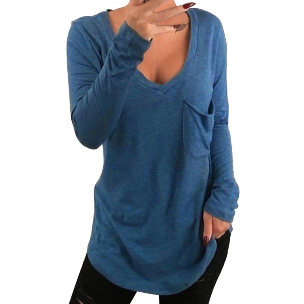 feitong 2019 New Women Solid V-Ncek Pocker Long Sleeve Pullover Female Shirt Tops harajuku camiseta mujer