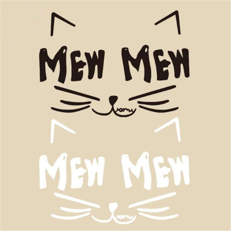 T shirt baby heat transfer printing 80mm Cat face MEW pvc patch for clothes iron on transfer patches for clothing 3d stickers