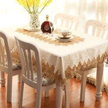 Nuevo encaje de oro bordado Mantel paño de tabla mesa de la cena mat ronda square Garden FG705 Europa cubierta de tabla Estera mayorista