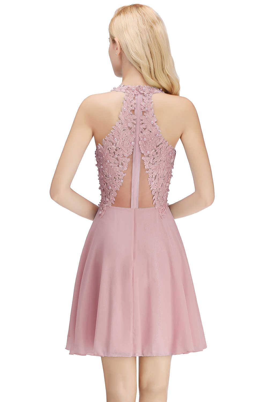 Misshow קוקטייל שמלות 2020 מאובק ורוד שיפון המפלגה שמלת 2019 סקסי V צוואר שרוולים גלימת coctail