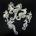 Julie Wang 14pcs Mini Charms Alloy Retro Siver Plated Mixed Pictures Frames hippocampus Pendant Handmade Hanging Crafts