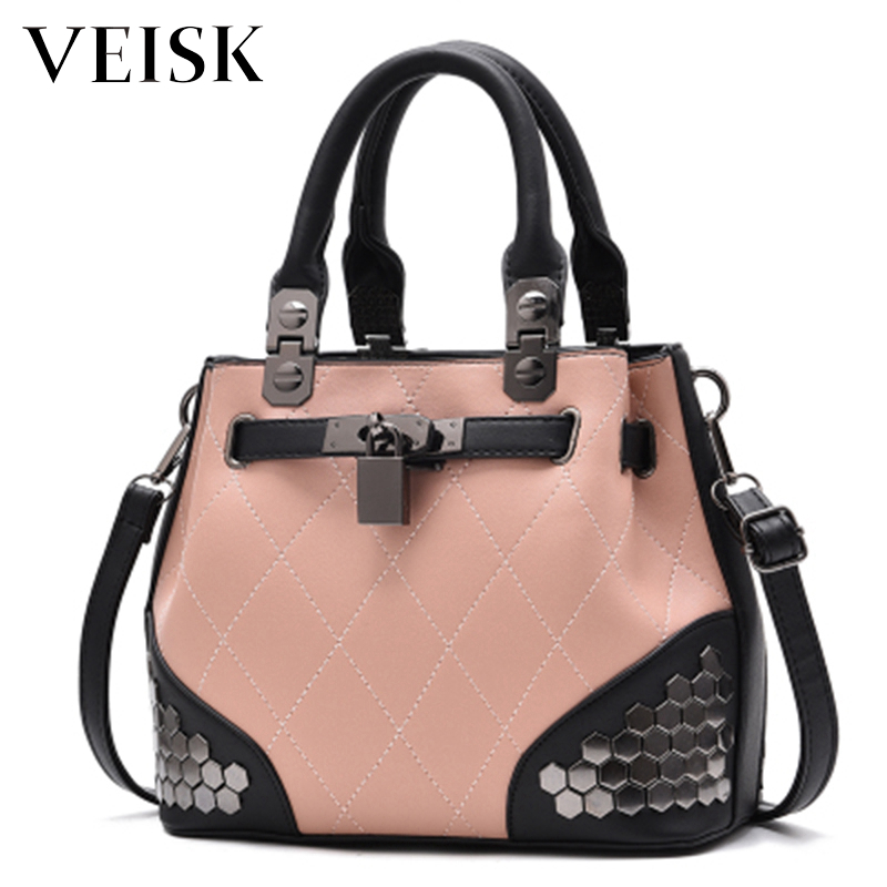 VEISK Hot Sale Pink Women Bag Leather Handbags Cross Body Shoulder Bags Fashion Messenger Bag Women Handbag Bolsas Femininas 2017 reloj hot fashion vintage retro bronze quartz pocket watch pendant chain necklace dece13