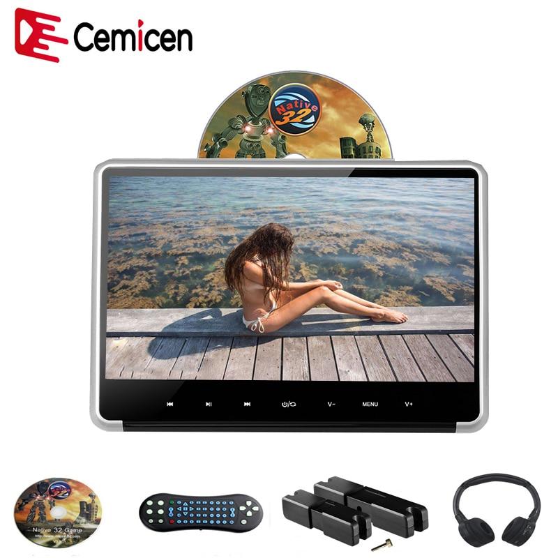 Cemicen 11,6 palcový stříbrný monitor opěrky hlavy pro digitální digitální IPS dotykové tlačítko HD 1080P videopřehrávač DVD s přehrávačem HDMI / FM / IR / USB / SD / Game