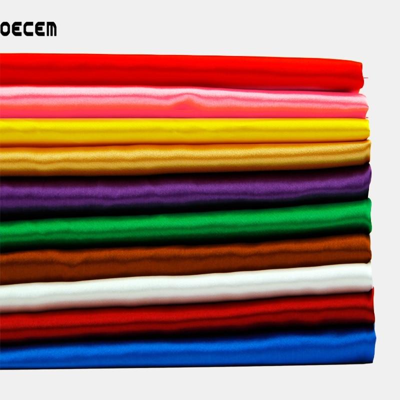 OECEM Satin Fabric Meter Simulering av Silke Charmeuse Satin Tissus 100 Siden Tyg För Sömning Party Decoration 50 * 150cm