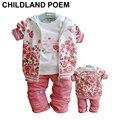 Осень-весна комплект одежды младенца хлопка цветок девушка новорожденный одежда С Капюшоном пальто + футболка + брюки 3 шт. девочки комплектов одежды