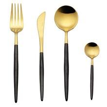 4 шт./лот черной ручкой набор столовых приборов золото 18/10 набор посуды из нержавеющей стали вилка, нож совки набор столового серебра дома набор посуды