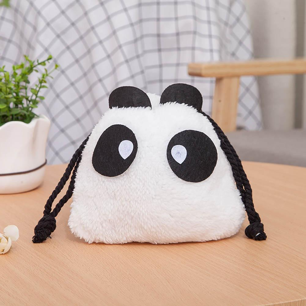 Cute Cartoon Panda Plush Drawstring Makeup Storage Bag Women's Cosmetic Pouch