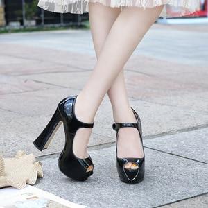 Image 2 - Maiernisi bombas sapatos femininos boca de peixe plataforma bomba sólida salto alto 14cm sapatos bombas sexy rasas único senhoras sapatos