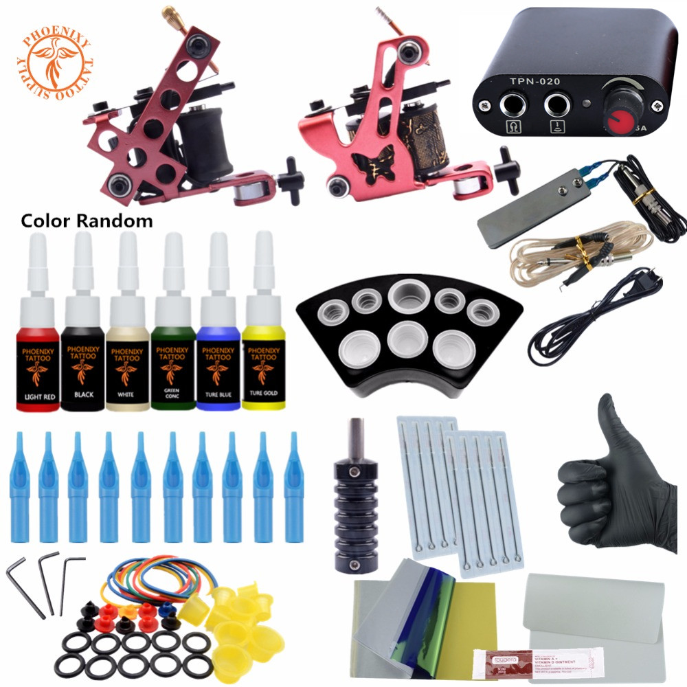 Complete Tattoo Kit 6 Colors Tattoo Ink Sets Coils Guns Machine Power Set Needles Beginner Permanent Makeup Supplies ophir 380pcs pro complete tattoo kit 3 tattoo machines guns 40 colors ink pigment tattoo supply power needles nozzles set ta005